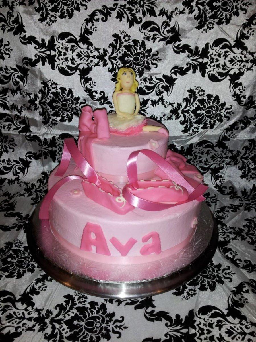 Ballerina Birthday Cake Ballerina Ballet Shoes And Bows