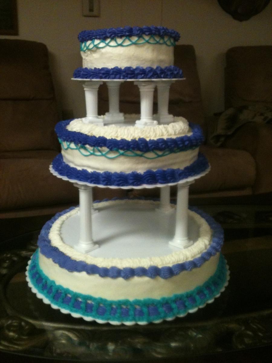 Teal And Purple Wedding Cake