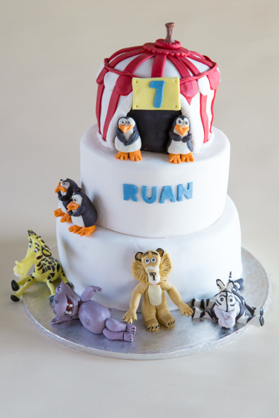 Madagascar Themed Cake For My Sons 7th Birthday 3 Tiered
