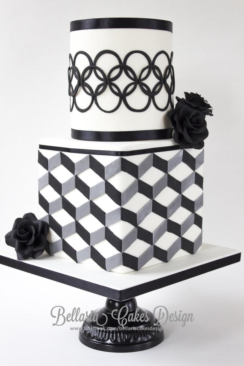 Black And White Wedding Shower Cake Ideas | deweddingjpg.com