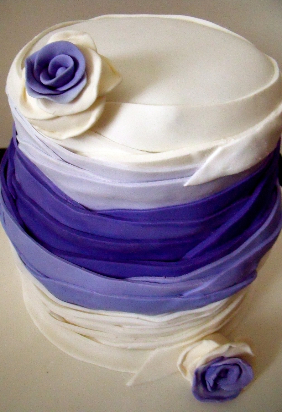 Purple Ribbon Wedding Cake