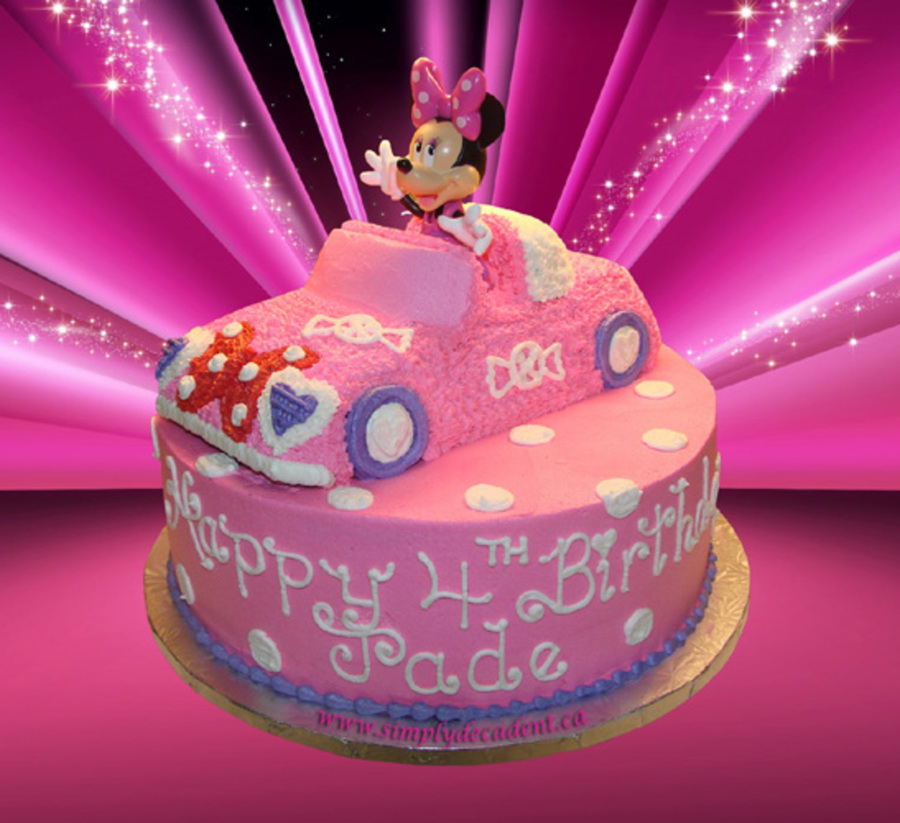 3d Minnie Mouse Car On A 12 Round Cake Cakecentral Com
