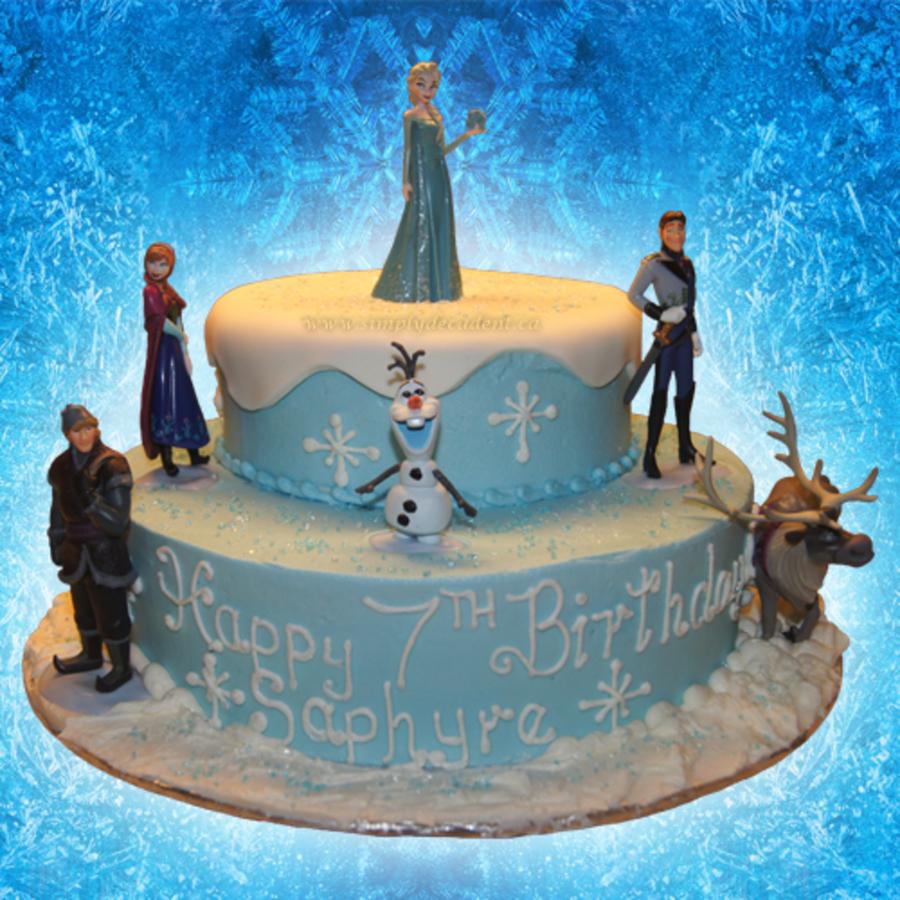 Disney Frozen 2 Tier Fondant Birthday Cake With Elsa The