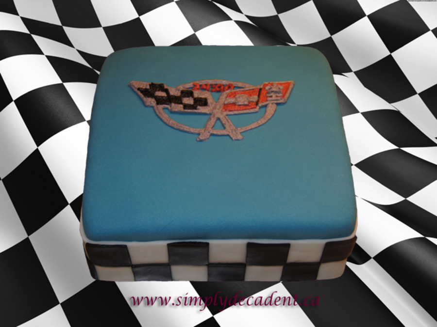 Fondant Birthday Cake With Corvette Logo And Checkered
