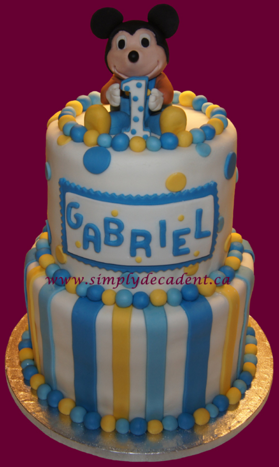 Fondant Baby Mickey Mouse 1st Birthday Cake Cakecentral Com
