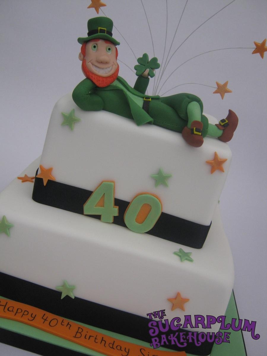 2 Tier Square Irish Themed 40th Birthday Cake