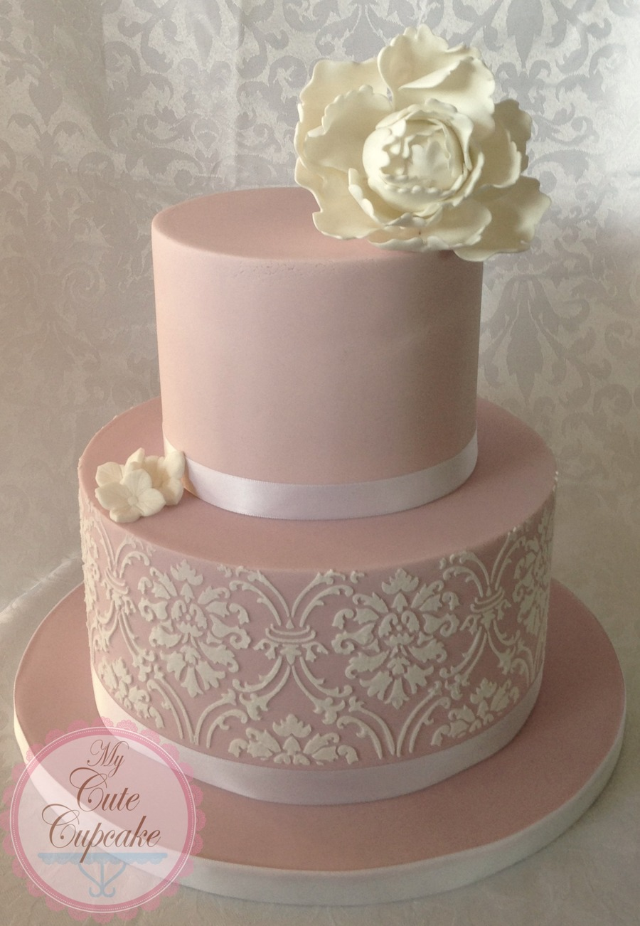 Blush Pink Damask Wedding Cake