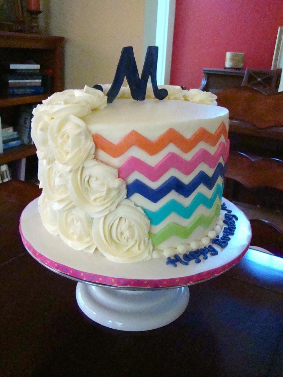 Rosette Chevron Cake Buttercream Iced Vanilla Cake With