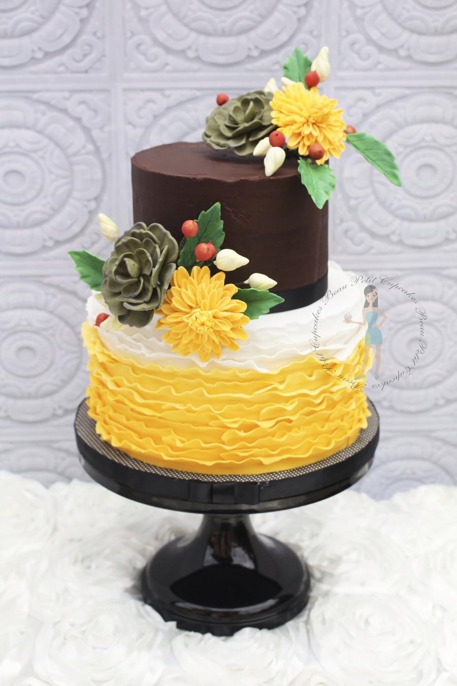 Rustic Ganache And Ruffled 90th Birthday Cake With Sugar