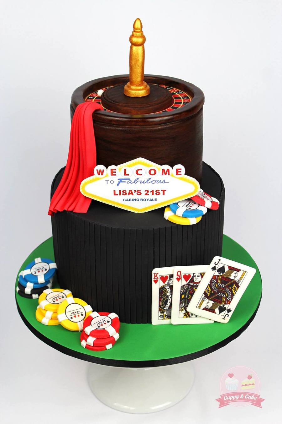 A 21st Casino Royale Themed Birthday Cake The Plaque Was
