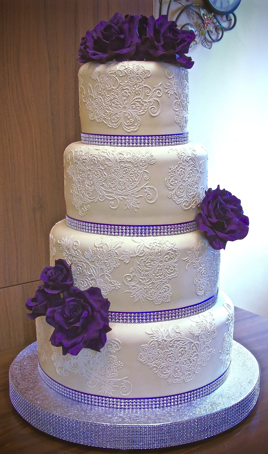 Purple Roses Wedding Cake Cakecentral Com