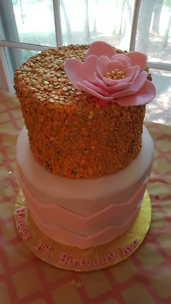 Pink And Gold First Birthday Cake Cakecentral Com