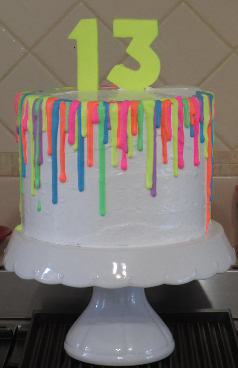 Fluoro Glow In The Dark Drip Cake Cakecentral Com
