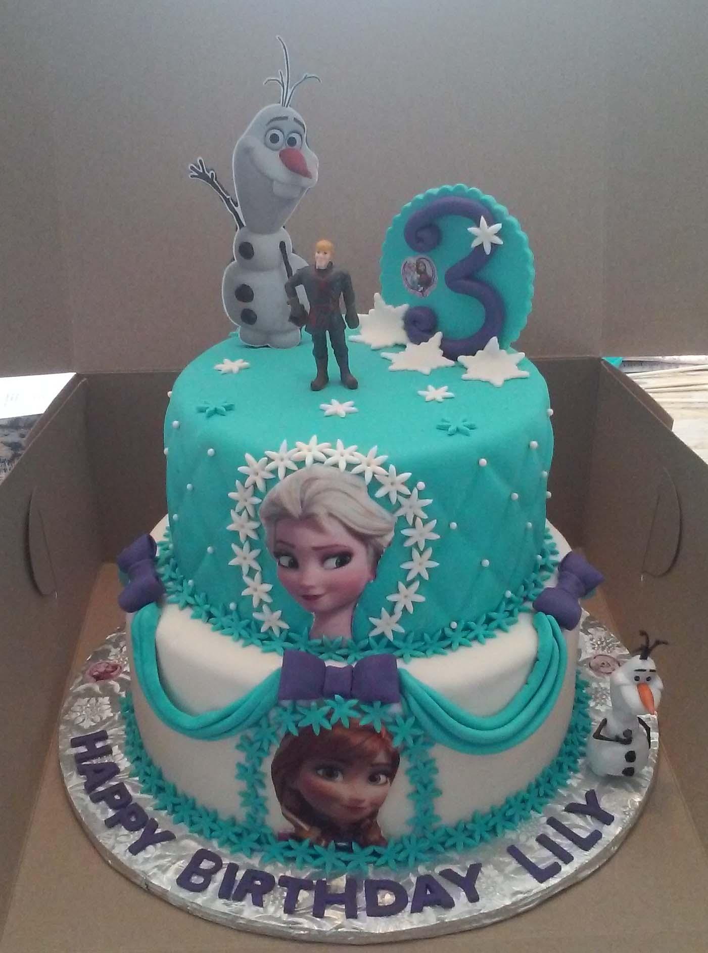 2 Tier Elsa And Anna Frozen Themed Birthday Cake