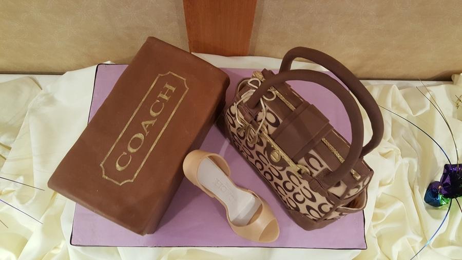 Coach Logo Handbag And Shoe Box Cake With Fondant High
