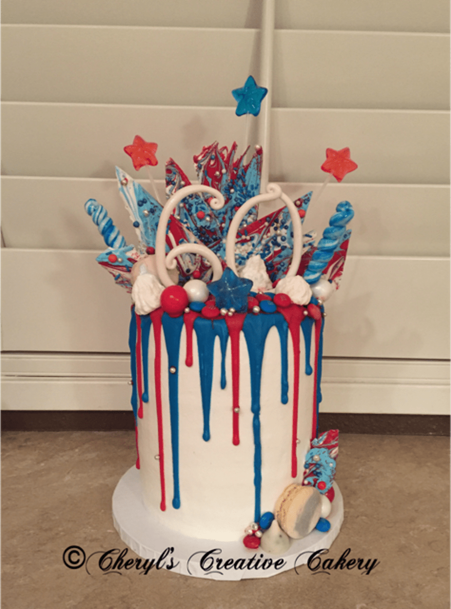 Birthday Amp 4th Of July Drip Cake Cakecentral Com