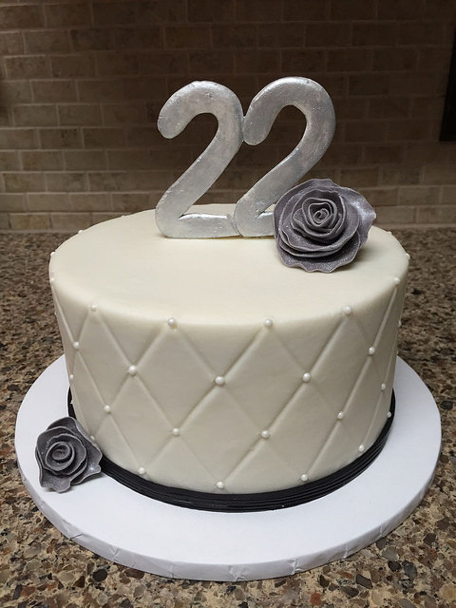 Black And White 22nd Birthday Cake Cakecentral Com