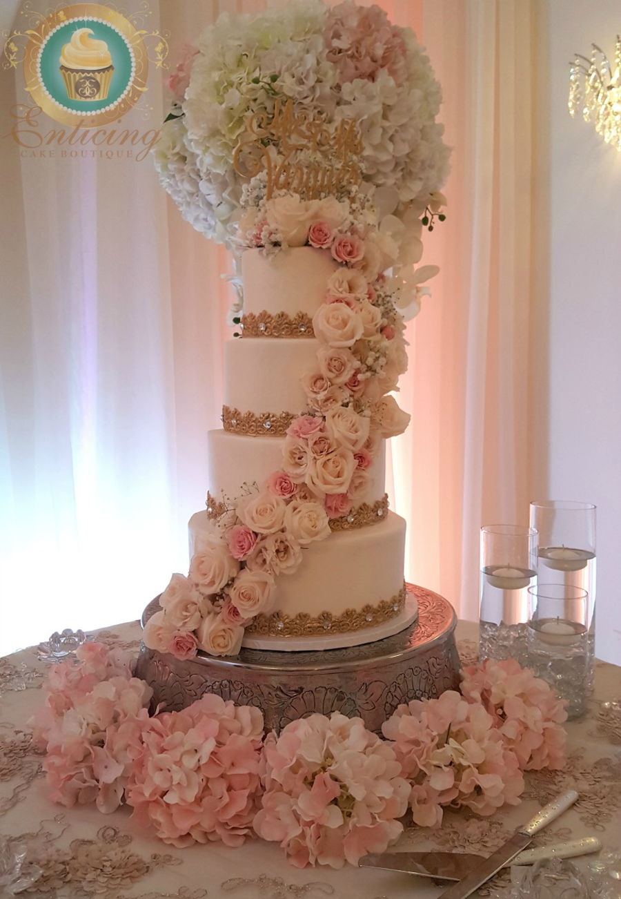 White Blush And Gold Wedding Cake Cakecentral Com