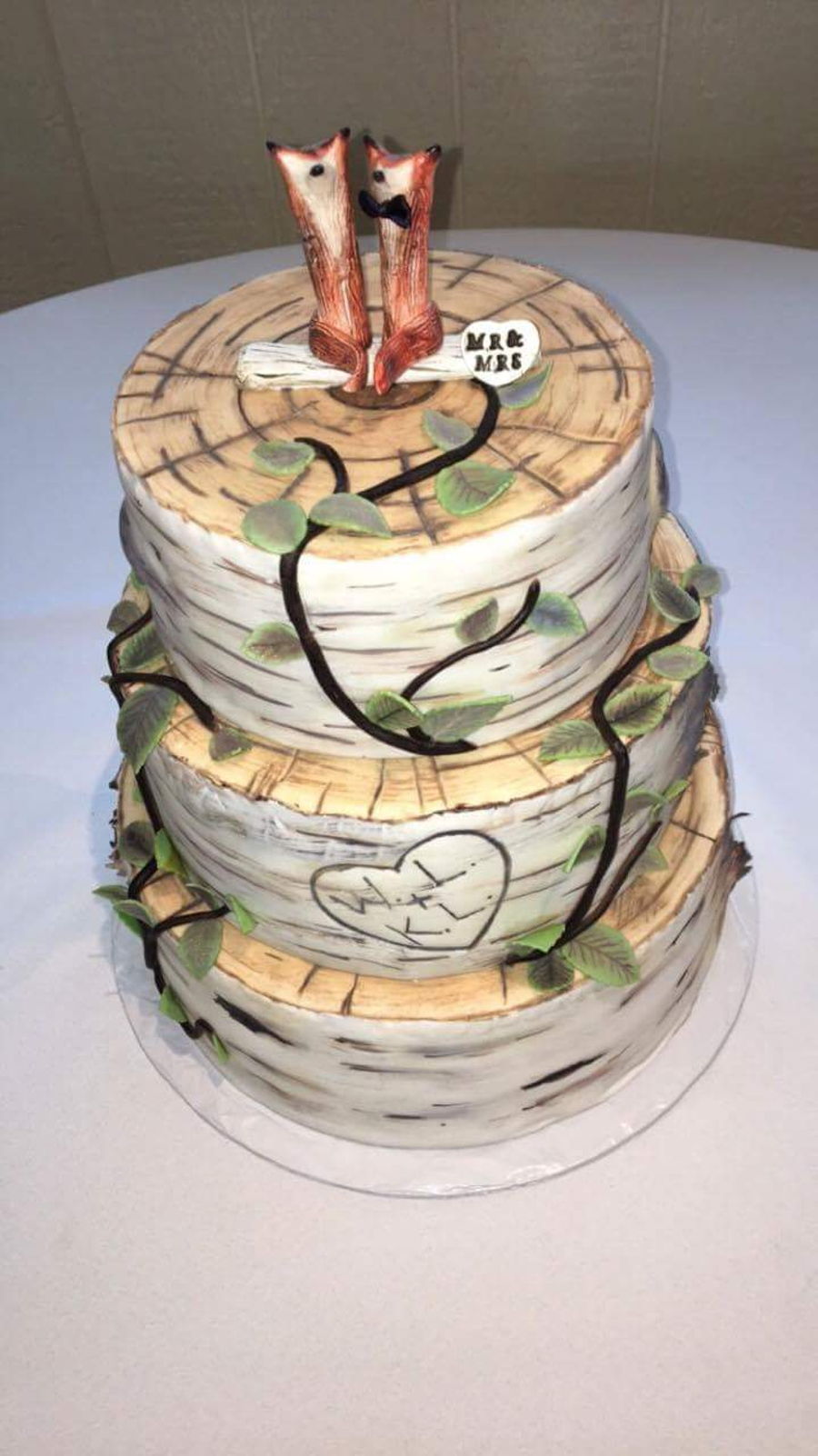 Rustic Birch Bark Wedding Cake Cakecentral Com