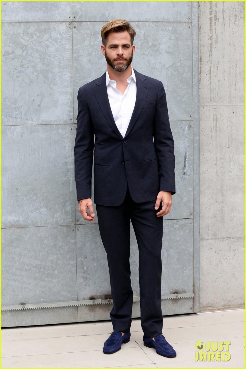 Chris Pine Jets To Milan For Giorgio Armani Fashion Show