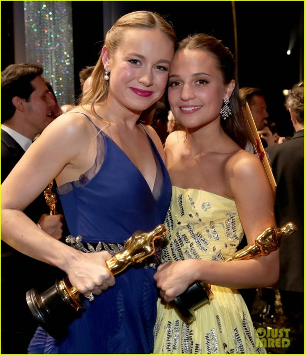 Brie Larson Alicia Vikander Celebrate Their Big Wins At