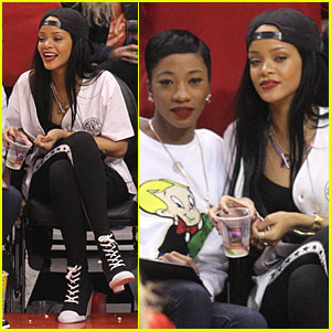 Rihanna & BFF Melissa Forde Cheer on Clippers at NBA Playoff Game!
