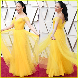 Constance Wu Shows Off Her Custom Versace Dress at Oscars 2019!