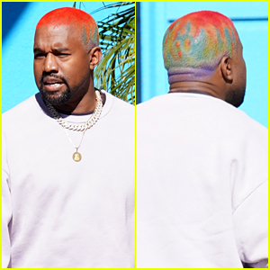 Kanye West Shows Off His Rainbow Hair While Taking Care of Business
