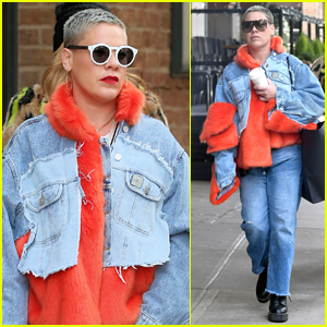 Pink Shows Off Newly Shaved Head During Day Out in NYC