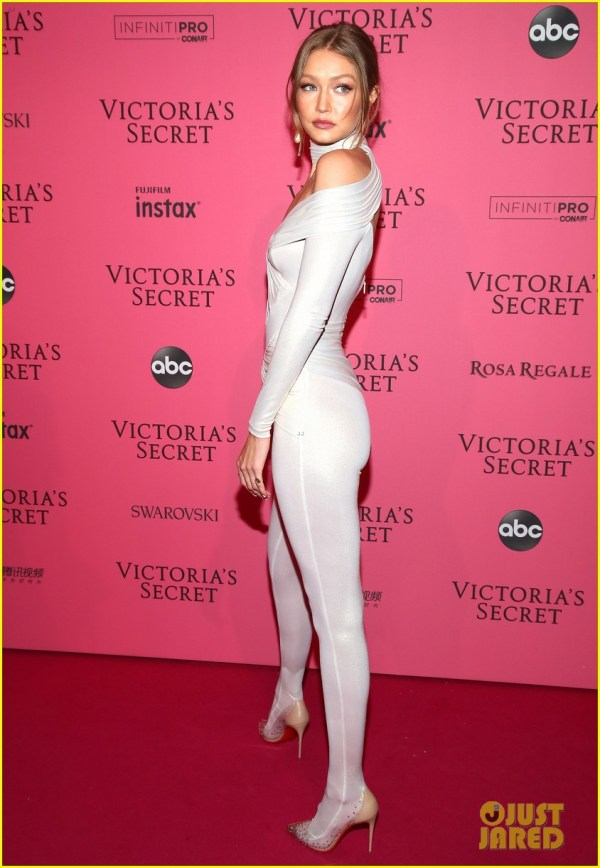Gigi Hadid Slays Pink Carpet in Skin-Tight Jumpsuit for VS ...