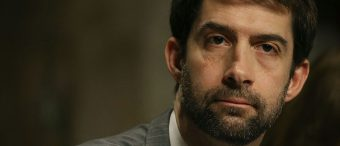Sen. Tom Cotton listens to testimony during a Senate Armed Services Committee hearing on Capitol Hill on February 2, 2016. (Getty Images)