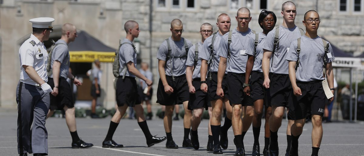 Cadets for the U.S. Military Academy at West Point class of 2018 practice marching during Reception Day in West Point, New York July 2, 2014. REUTERS/Shannon Stapleton
