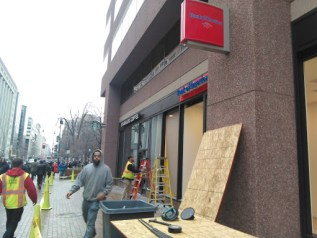Shattered windows at Bank of America and Starbucks. Credit: Ted Goodman, The Daily Caller News Foundation.