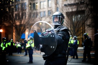 Riot police in position during the protest - Daily Caller - Abbey Jaroma