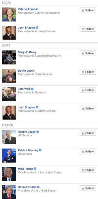 Representatives listed for Lower Merion Township, Montgomery County, Pennsylvania. [Facebook - Screenshot]