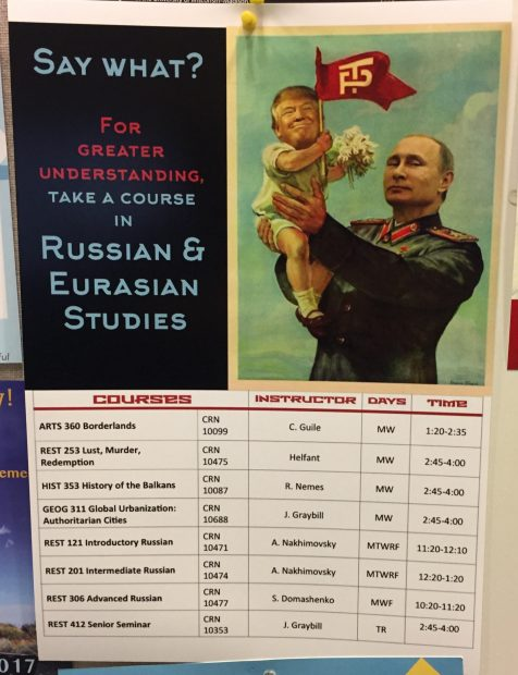 Poster displaying courses offered by the Russian and Eurasian Studies program at Colgate University (Source: Anonymous Colgate University student)