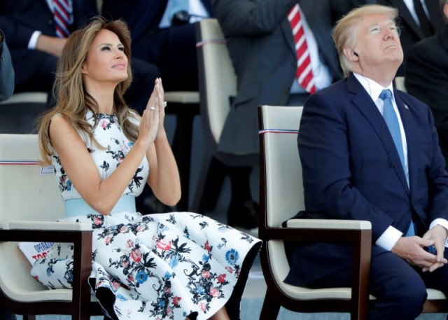 U.S. President Donald Trump and First Lady Melania Trump attend the traditional Bastille Day military parade on the Champs-Elysees in Paris, France, July 14, 2017. REUTERS/Charles Platiau