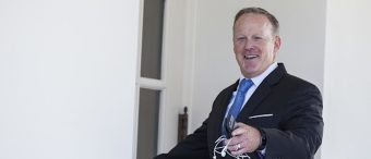 Sean Spicer, outgoing White House press secretary, gestures while entering the West Wing of the White House in Washington, D.C., U.S., on Tuesday, July 25, 2017. Donald Trump ratcheted up his criticism of Jeff Sessions on Tuesday, and a top aide said the president likely wants his attorney general gone and has recently considered firing the head of the FBI's Russia investigation. Photographer: Zach Gibson/Bloomberg via Getty Images