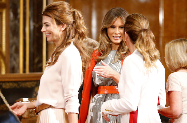 U.S. First Lady Melania Trump talks to Canadian Prime Minister's wife Sophie Gregoire Trudeau during a G20 leaders spouses event at the townhall during the G20 summit in Hamburg, Germany July 8, 2017. REUTERS/Axel Schmidt - RTX3AM0N