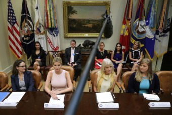 WASHINGTON, DC - AUGUST 02: Assistant to the President and Donlad Trump's daughter Ivanka Trump (2nd L) and Counselor to the President Kellyanne Conway (3rd L) host a listening session with military spouses in the Rooselvelt Room at the White House August 2, 2017 in Washington, DC. The military spouses said the choose professions that they can practice no matter where their partners are stationed but that licencing and certification continues to be a challenge when moving to a new post. (Photo by Chip Somodevilla/Getty Images)