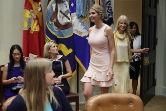 WASHINGTON, DC - AUGUST 02: Assistant to the President and Donlad Trump's daughter Ivanka Trump and Counselor to the President Kellyanne Conway (2nd R) arrive for a listening session with military spouses in the Roosevelt Room at the White House August 2, 2017 in Washington, DC. The military spouses said the choose professions that they can practice no matter where their partners are stationed but that licencing and certification continues to be a challenge when moving to a new post. (Photo by Chip Somodevilla/Getty Images)
