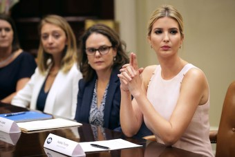 WASHINGTON, DC - AUGUST 02: Assistant to the President and Donlad Trump's daughter Ivanka Trump (R) delivers opening remarks during a listening session with military spouses (L-R) Karla Mettling, Nicole Zillox and Kim Lopez in the Rooselvelt Room at the White House August 2, 2017 in Washington, DC. The military spouses said the choose professions that they can practice no matter where their partners are stationed but that licencing and certification continues to be a challenge when moving to a new post. (Photo by Chip Somodevilla/Getty Images)