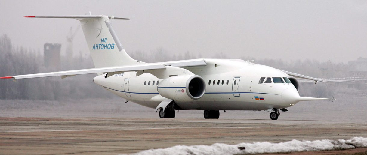 A Ukrainian-made Antonov-148 airplane prepares for its first flight in Kiev, December 17, 2004. The new An-148 airliner can carry 80 passengers for up to 5,100 km with a top speed of 870 kms per hour. REUTERS