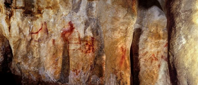 Neanderthal paintings can be seen in a cave in Pasiega, Spain in this photo obtained February 22, 2018. University of Southampton/Handout via REUTERS