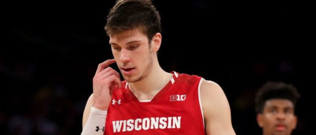 NEW YORK, NY - MARCH 02: Ethan Happ #22 of the Wisconsin Badgers reacts in the final minute of the game against the Michigan State Spartans during quarterfinals of the Big Ten Basketball Tournament at Madison Square Garden on March 2, 2018 in New York City.The Michigan State Spartans defeated the Wisconsin Badgers 63-60. (Photo by Elsa/Getty Images)