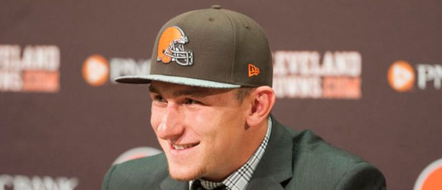 BEREA, OH - MAY 9: Cleveland Browns draft pick Johnny Manziel answers questions during a press conference at the Browns training facility on May 9, 2014 in Cleveland, Ohio. Manziel was selected in the first round with the 22nd pick. (Photo by Jason Miller/Getty Images)