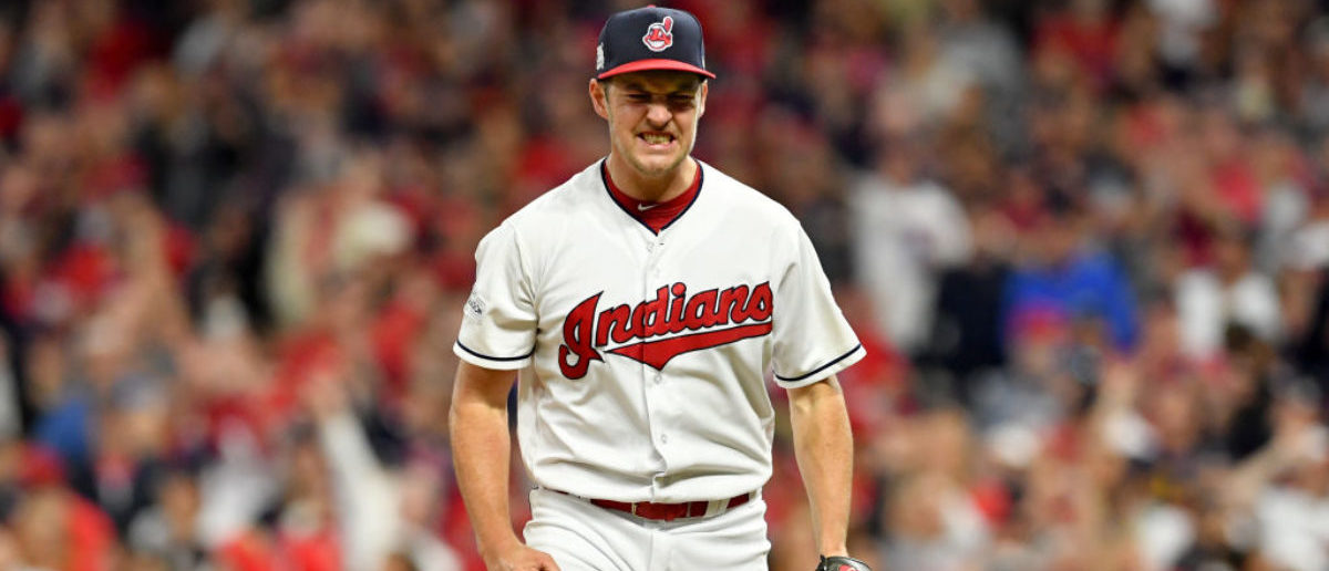 CLEVELAND, OH - OCTOBER 05: Trevor Bauer #47 of the Cleveland Indians celebrates after retiring the side in the fourth inning on a strike out against the New York Yankees during game one of the American League Division Series at Progressive Field on October 5, 2017 in Cleveland, Ohio. (Photo by Jason Miller/Getty Images)