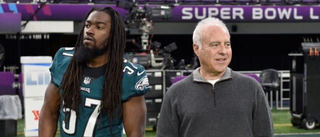MINNEAPOLIS, MN - FEBRUARY 03: Dannell Ellerbe #57 of the Philadelphia Eagles and owner Jeffrey Lurie look on during Super Bowl LII practice on February 3, 2018 at US Bank Stadium in Minneapolis, Minnesota. The Philadelphia Eagles will face the New England Patriots in Super Bowl LII on February 4th. (Photo by Hannah Foslien/Getty Images)