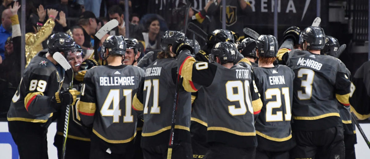 LAS VEGAS, NV - MARCH 30:  The Vegas Golden Knights celebrate after Jonathan Marchessault (2nd L) #81 scored in overtime against the St. Louis Blues to win their game 4-3 at T-Mobile Arena on March 30, 2018 in Las Vegas, Nevada.  (Photo by Ethan Miller/Getty Images)