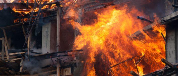 Modern Building Burning From Inferno -- ShutterStock -- Jackan